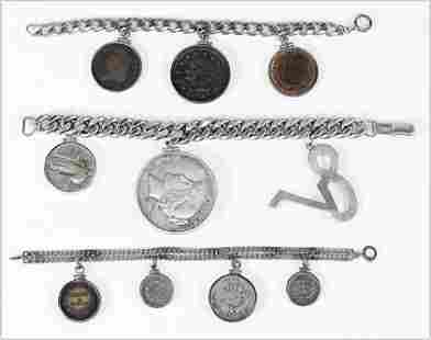 Three Sterling Silver Charm Bracelets.