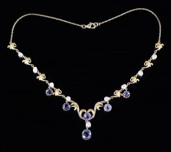 A Sapphire & Natural Pearl Necklace.