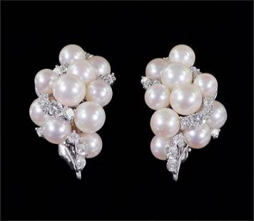 A Pair of Pearl & Diamond Earclips.