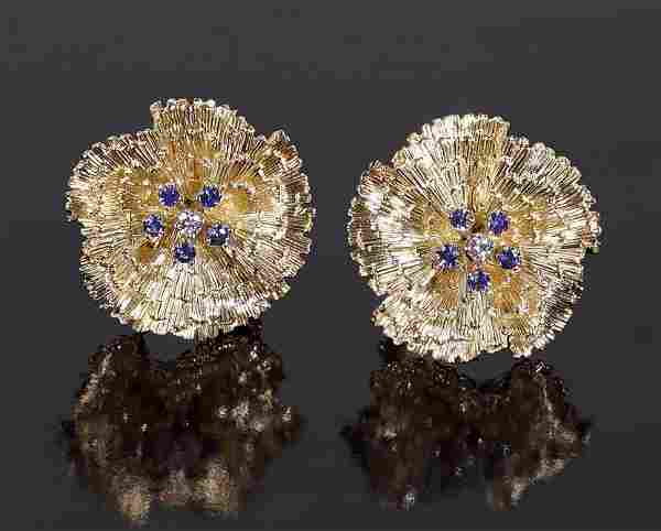 A Pair of Sapphire & Diamond Earclips.