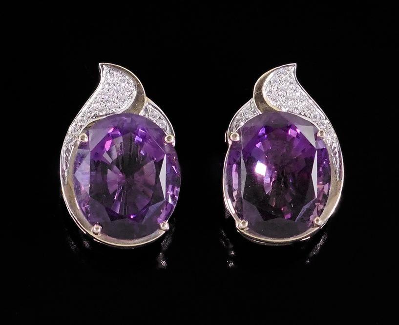 A Pair of Amethyst & Diamond Earrings.