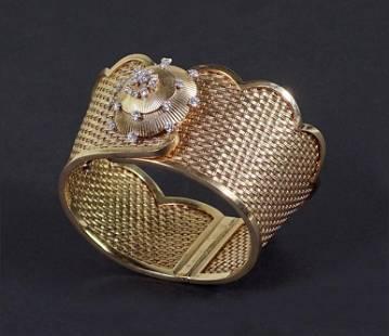 A French 18 Karat Yellow Gold Watch Bracelet.