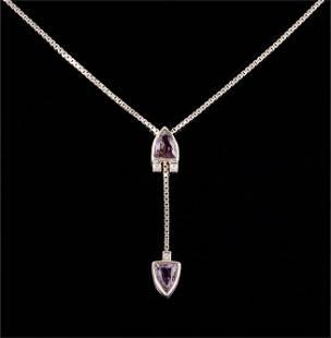 An Amethyst & Diamond Lariat Necklace.