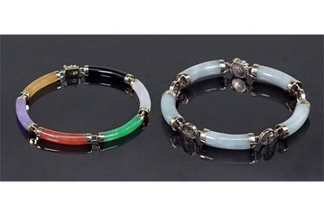 Two Jade and 14 Karat Yellow Gold Bracelets.