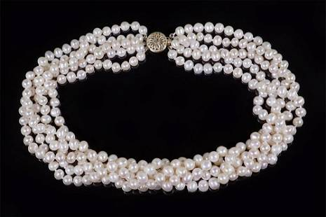 A Cultured Freshwater Pearl Torsade Necklace.