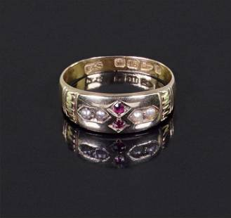 A Victorian English Ruby & Pearl Ring.