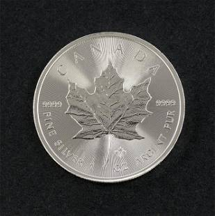 2014 Canadian Silver Maple Leaf Roll of 25.