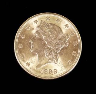 An 1898 US $20 Gold Coin.