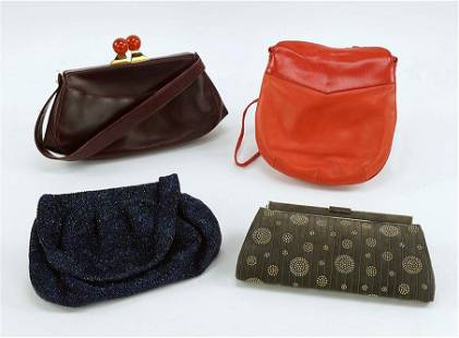A Judith Leiber Grey Suede Handbag.