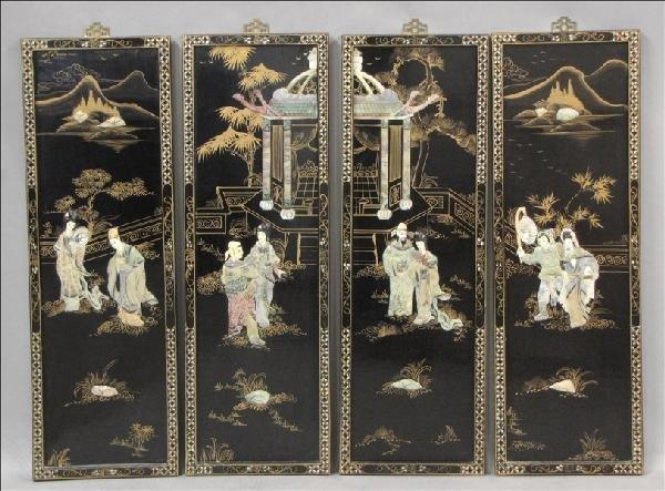 861006: FOUR CHINESE HARDSTONE INLAID PANELS.