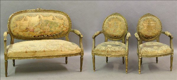 871007: LOUIS XVI GESSO AND GILTWOOD PARLOR SUITE.