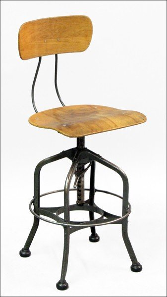 871011: 1930S MAPLE AND ENAMELED STEEL INDUSTRIAL STOOL