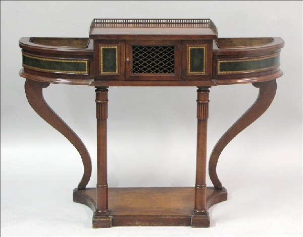 871015: REGENCY STYLE MAHOGANY AND LEATHER-INSET PLANTS