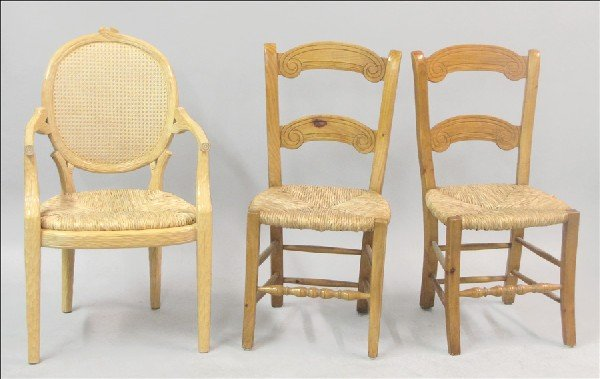 871017: PAIR OF FRENCH PROVINCIAL STYLE PINE AND RUSH S