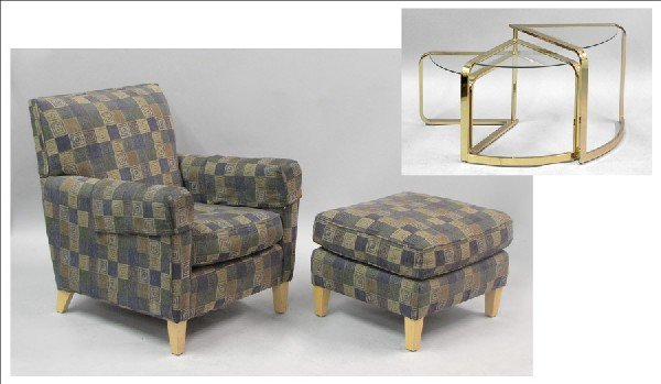 871018: CONTEMPORARY UPHOLSTERED ARMCHAIR AND OTTOMAN.