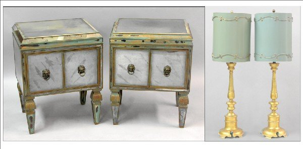 871019: PAIR OF ITALIAN STYLE PAINTED AND MIRRORED SIDE