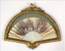 872023: FRENCH PAINTED SILK AND BONE FAN.