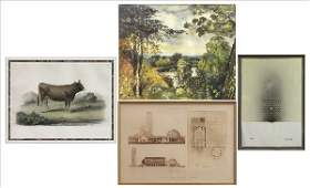 876066 GROUP OF FOUR FRAMED ASSORTED PRINTS AND PAINTI