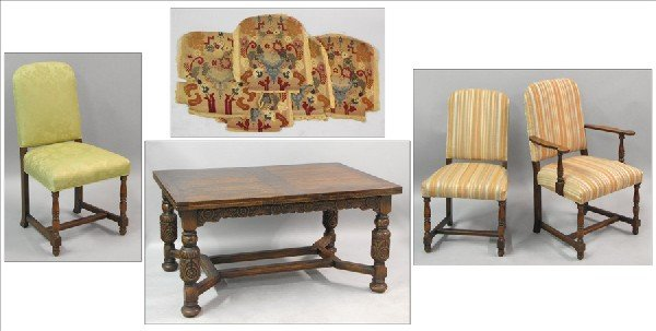881001: TUDOR STYLE CARVED OAK EXTENSION DINING TABLE.