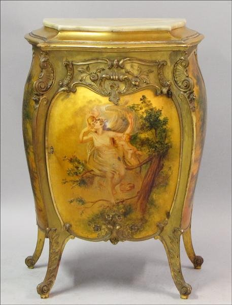 881003: FRENCH PARCEL-PAINTED GILTWOOD BOMBE COMMODE.