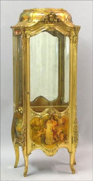 881004: FRENCH PARCEL-PAINTED GILTWOOD VITRINE.