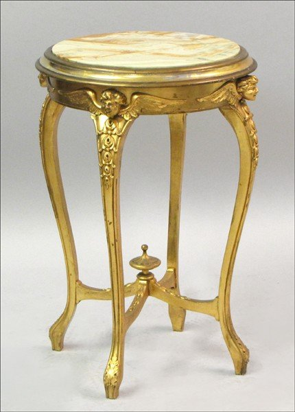 881006: FRENCH GILTWOOD MARBLE TOP OCCASIONAL TABLE.
