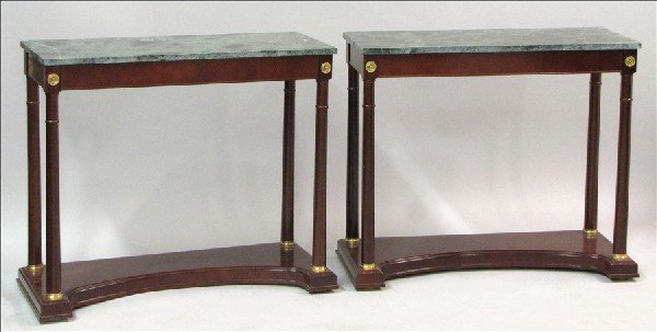 881009: PAIR OF REGENCY STYLE MARBLE TOP MAHOGANY CONSO