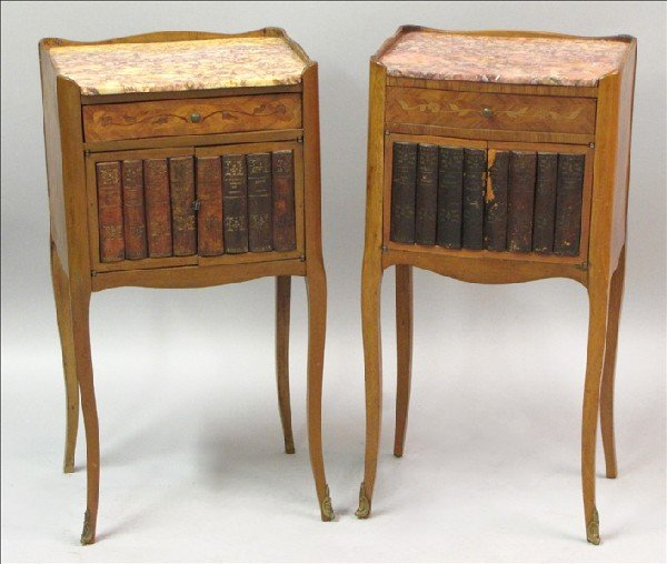 881010: TWO PARQUETRY INLAID WALNUT SIDE CABINETS.