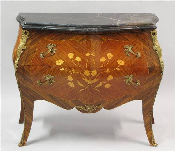 881013: FRENCH MARQUETRY INLAID BOMBE COMMODE.