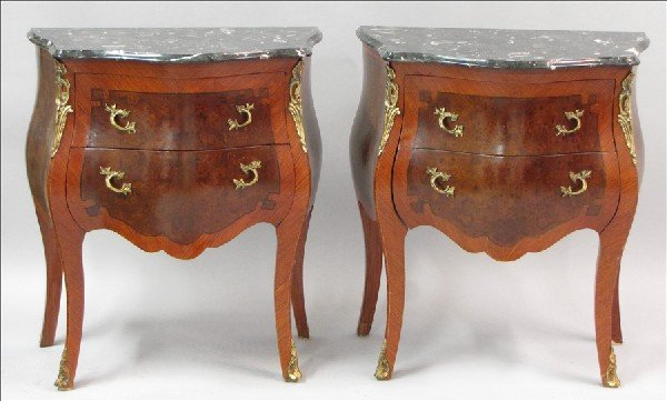 881014: PAIR OF BURLWOOD INLAID MARBLE TOP COMMODES.