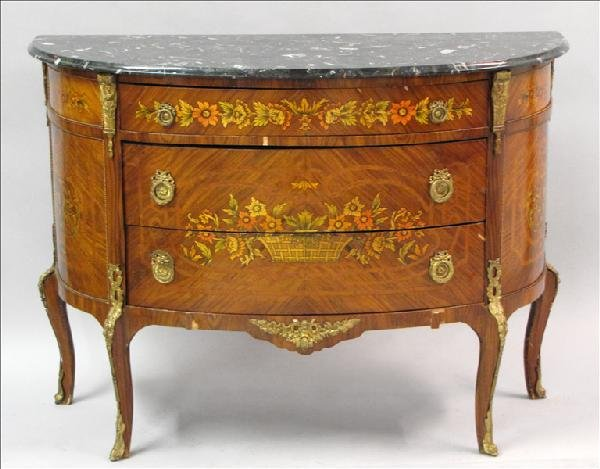 881015: FRENCH MARQUETRY INLAID DEMILUNE MARBLE TOP CHE