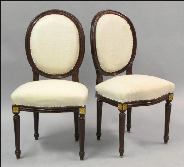 881021: SET OF FOUR LOUIS XVI STYLE MAHOGANY SIDE CHAIR