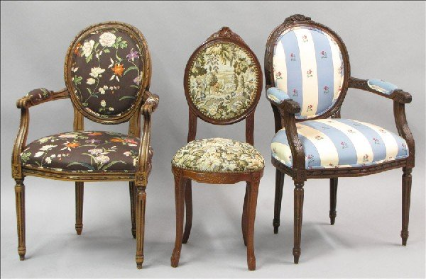881024: TWO LOUIS XVI STYLE OPEN ARMCHAIRS.