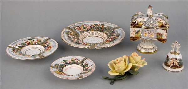 882158: GROUP OF CAPODIMONTE GILT AND PAINTED TABLE ART