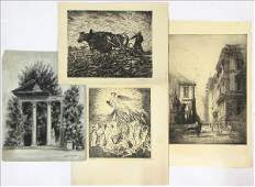 886055 GROUP OF FOUR ASSORTED PRINTS AND DRAWINGS