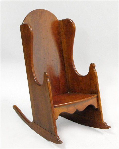 891006: QUEEN ANNE STYLE MAHOGANY CHILD'S ROCKING CHAIR