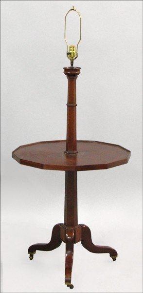 891013: MAHOGANY LAMP TABLE.