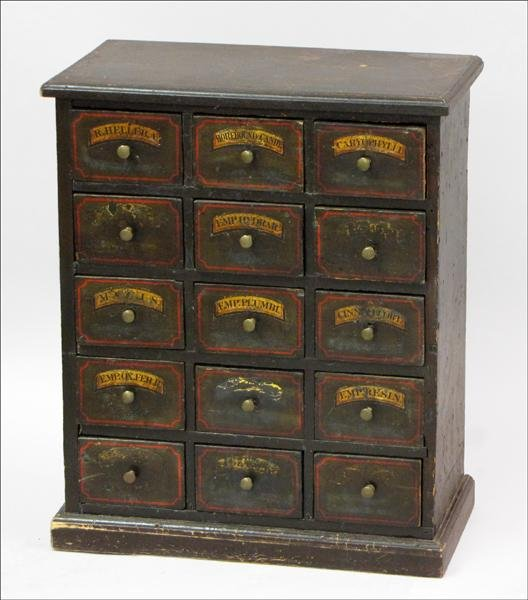 891014: OAK APOTHECARY CABINET.