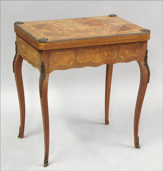 891025: FRENCH MARQUETRY INLAID WALNUT FLIP-TOP GAMES T