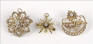 897111 TWO VICTORIAN PEARL DIAMOND AND YELLOW GOLD S