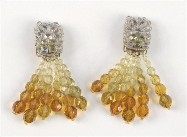 907004: PAIR OF COPPOLA E TOPPO FACETED GLASS BEAD EARC