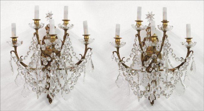 911002: PAIR OF ITALIAN GILT BRONZE AND CRYSTAL FIVE LI