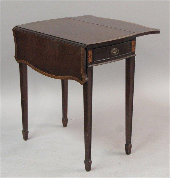 911005: INLAID MAHOGANY PEMBROKE TABLE.