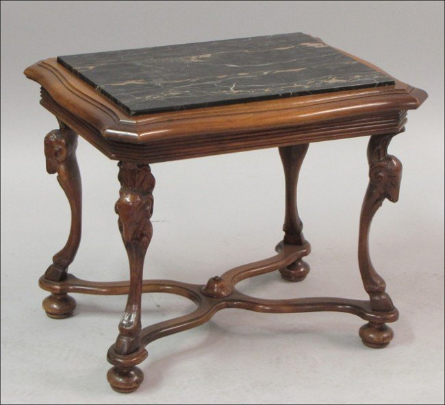 911007: CARVED MAHOGANY MARBLE TOP SIDE TABLE.