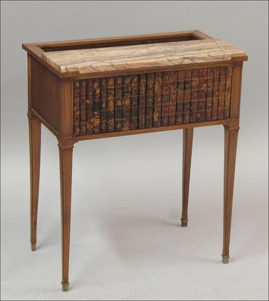 911011: FRENCH MARBLE TOP MAHOGANY SIDE CABINET.