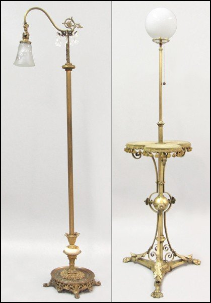 911014: GOTHIC STYLE GILT METAL TRIFOIL LAMP TABLE.