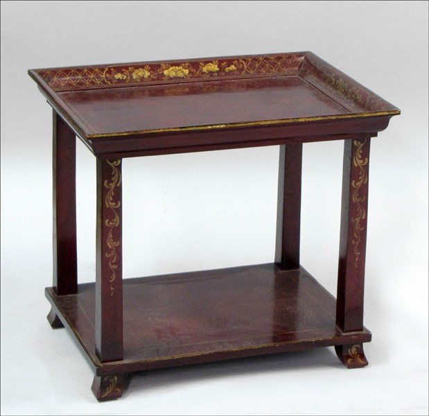 911023: GILT AND LACQUERED SIDE TABLE.