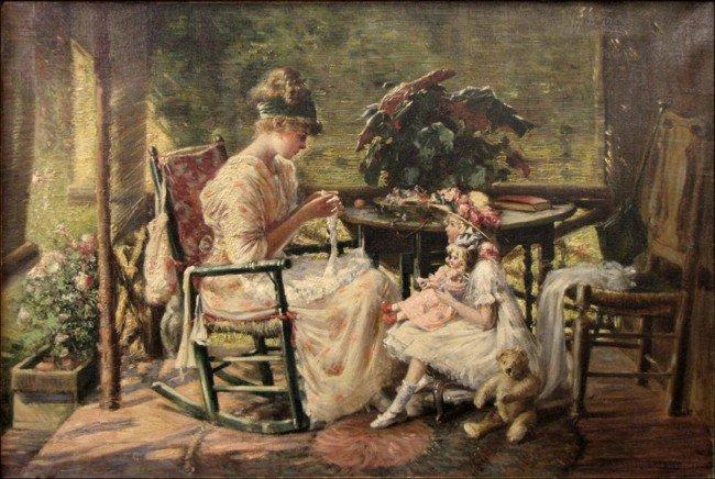 916033: HARRY ROSELAND (AMERICAN 1868-1950) THE KNITTIN