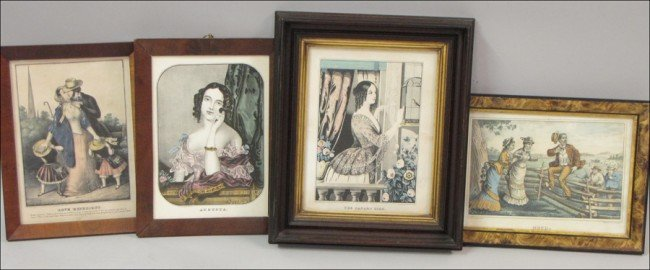 916080: GROUP OF FOUR CURRIER & IVES TYPE PRINTS.