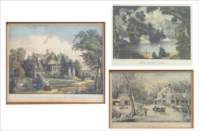 916081: GROUP OF THREE CURRIER & IVES FRAMED PRINTS.